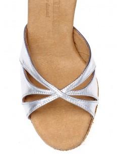 Chaussures de danse de salon satin cuivre et strass