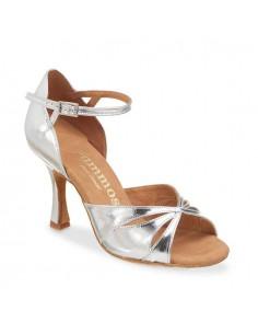 Chaussures de danse cuir argent chic